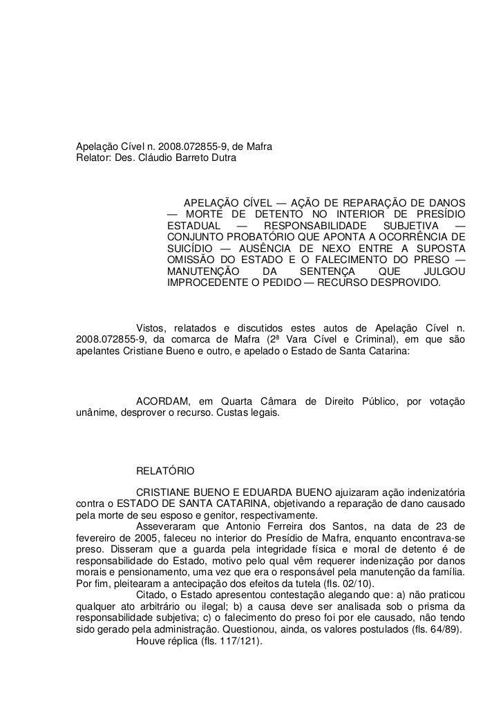 Apelação Cível n. 2008.072855-9, de MafraRelator: Des. Cláudio Barreto Dutra                       APELAÇÃO CÍVEL — AÇÃO D...