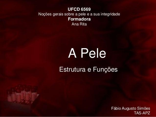 A Pele Estrutura e Funções UFCD 6569 Noções gerais sobre a pele e a sua integridade Formadora Ana Rita Fábio Augusto Simõe...