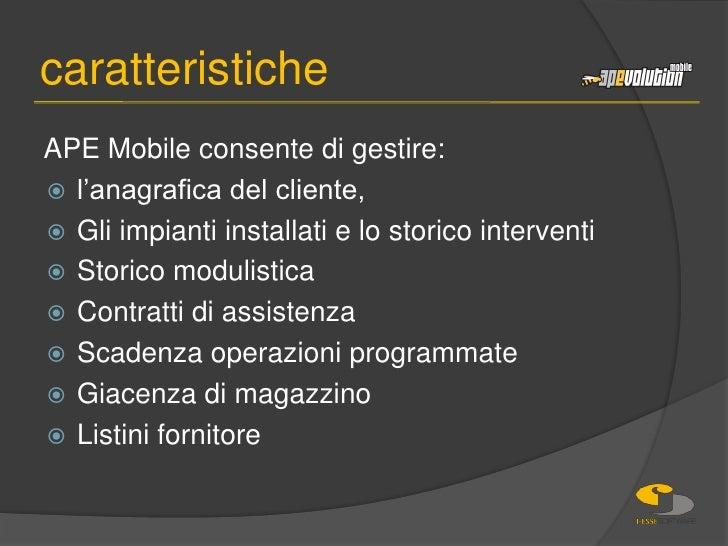 APE Mobile consente di gestire:<br />l'anagrafica del cliente, <br />Gli impianti installati e lo storico interventi<br />...