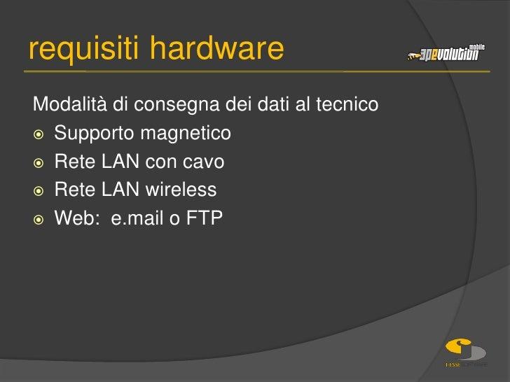 Modalità di consegna dei dati al tecnico<br />Supporto magnetico<br />Rete LAN con cavo<br />Rete LAN wireless<br />Web:  ...