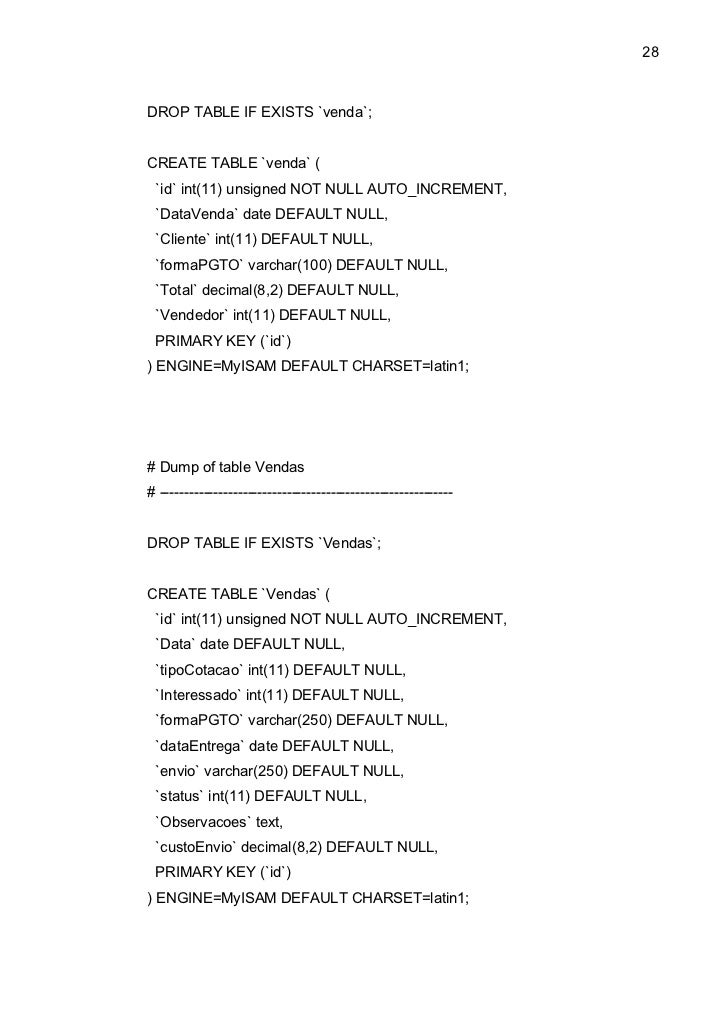 28DROP TABLE IF EXISTS `venda`;CREATE TABLE `venda` ( `id` int(11) unsigned NOT NULL AUTO_INCREMENT, `DataVenda` date DEFA...