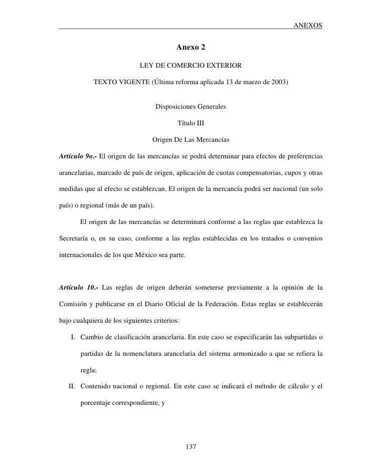 ANEXOS                                              Anexo 2                               LEY DE COMERCIO EXTERIOR        ...
