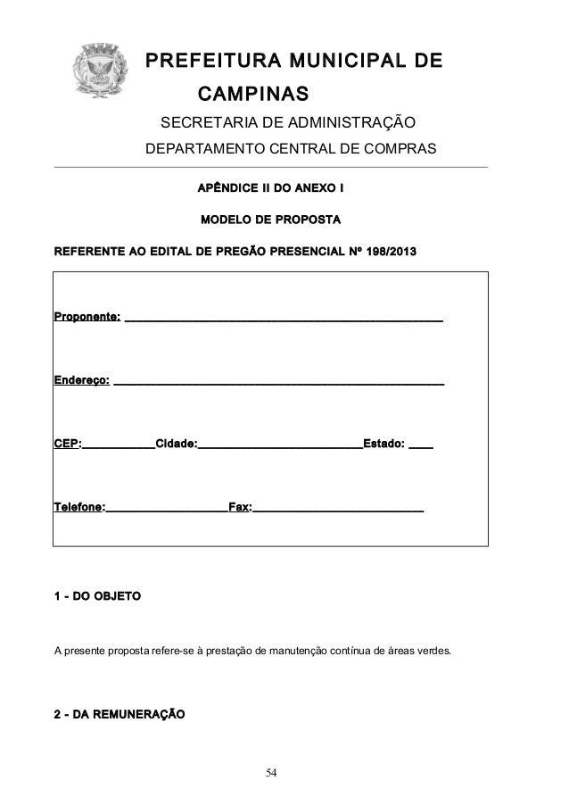 PREFEITURA MUNICIPAL DE CAMPINAS SECRETARIA DE ADMINISTRAÇÃO DEPARTAMENTO CENTRAL DE COMPRAS APÊNDICE II DO ANEXO I MODELO...