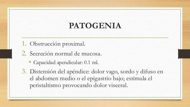 PATOGENIA  1. Obstrucción proximal.  2. Secreción normal de mucosa.  • Capacidad apendicular: 0.1 ml.  3. Distensión del a...