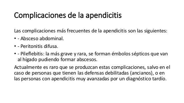 Apendicitis. Cuidados de Enfermería