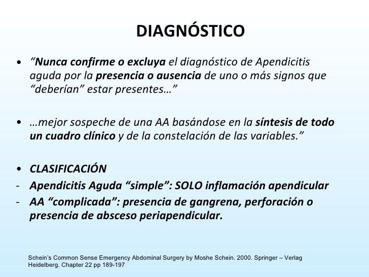 """<ul><li>"""" Nunca   confirme o   excluya  el diagnóstico de Apendicitis aguda por la  presencia o ausencia  de uno o más sig..."""