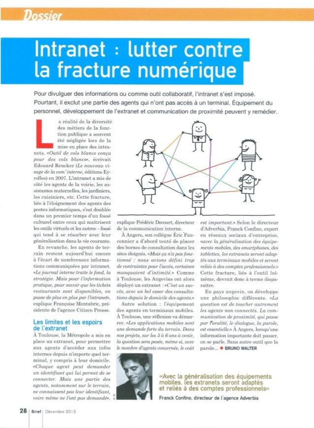Intranet : lutter contre la fracture numérique - Brief - décembre 2013