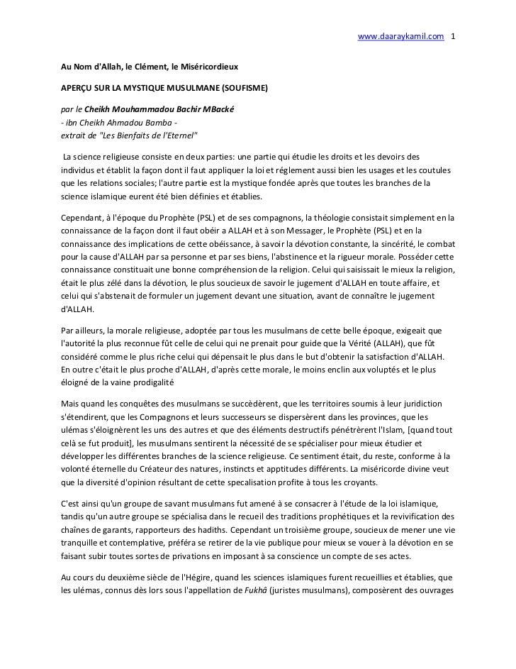 www.daaraykamil.com 1Au Nom dAllah, le Clément, le MiséricordieuxAPERÇU SUR LA MYSTIQUE MUSULMANE (SOUFISME)par le Cheikh ...