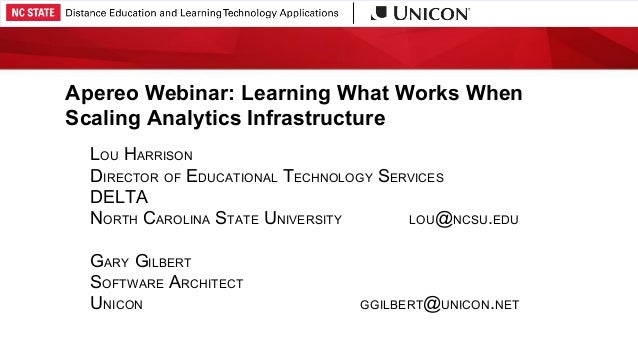 Apereo Webinar: Learning What Works When Scaling Analytics Infrastructure LOU HARRISON DIRECTOR OF EDUCATIONAL TECHNOLOGY ...