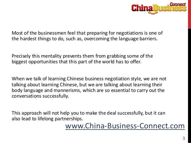 chinese negotiation style Chinese negotiating style has 14 ratings and 1 review will said: excellent - must read if you are going to do business or enter into any negotiation wit.