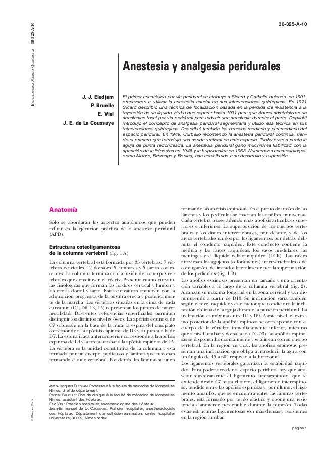 página 1 Anatomía Sólo se abordarán los aspectos anatómicos que pueden influir en la ejecución práctica de la anestesia pe...