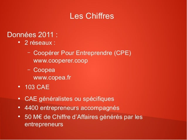 Les ChiffresDonnées 2011 :   ●       2 réseaux :        –   Coopérer Pour Entreprendre (CPE)            www.cooperer.coop ...