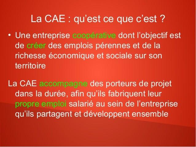 La CAE : qu'est ce que c'est ?●    Une entreprise coopérative dont l'objectif est    de créer des emplois pérennes et de l...