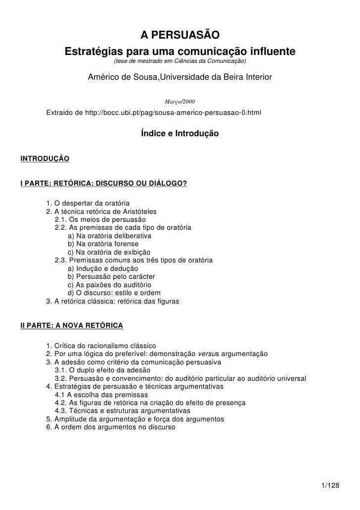 A PERSUASÃO           Estratégias para uma comunicação influente                          (tese de mestrado em Ciências da...