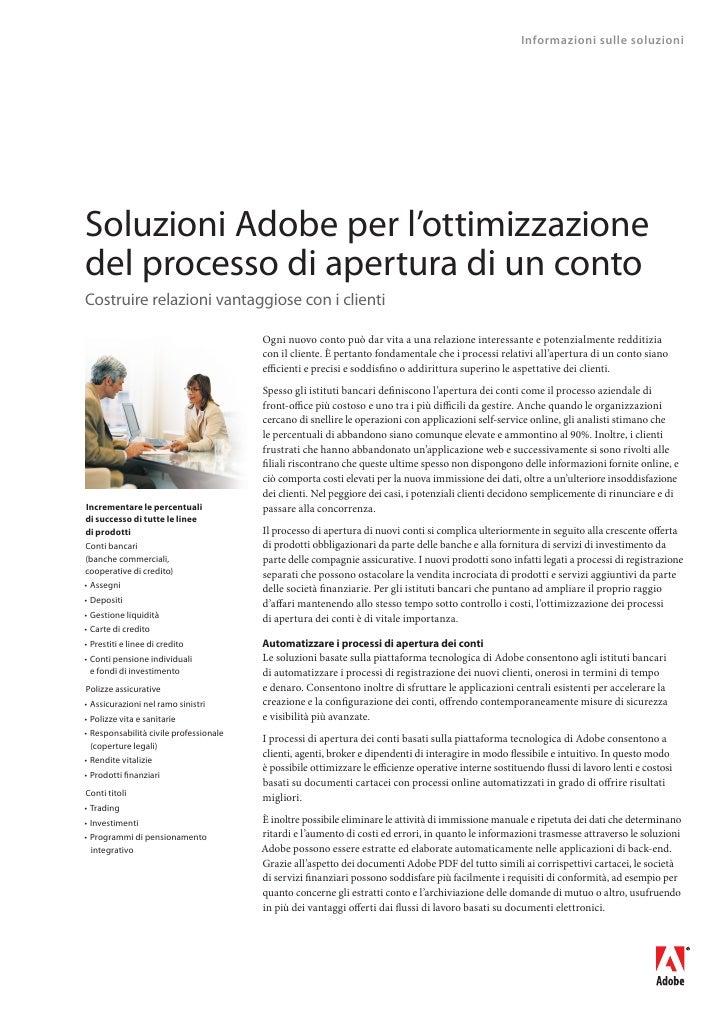 Informazioni sulle soluzioni     Soluzioni Adobe per l'ottimizzazione del processo di apertura di un conto Costruire relaz...