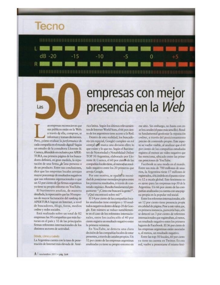 Barómetro de Notoriedad y Notabilidad Top 50 Argentina (LLORENTE & CUENCA y Revista Apertura)