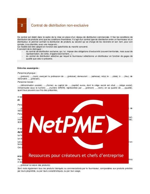 Apercu Contrat De Distribution Non Exclusive