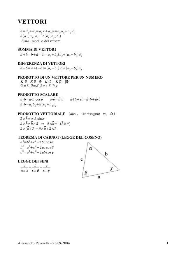 VETTORI a= ax ay=ax xay y=ax uxay uy aax ,ay ,az bbx ,by ,bz ∣a∣=a modulo del vettore SOMMA DI VETTORI a...