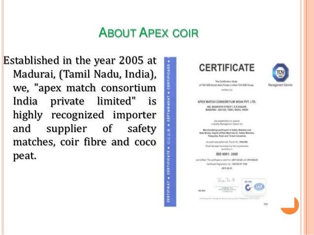 Coco Peat Coir Fiber Exporters Apex Match Consortium