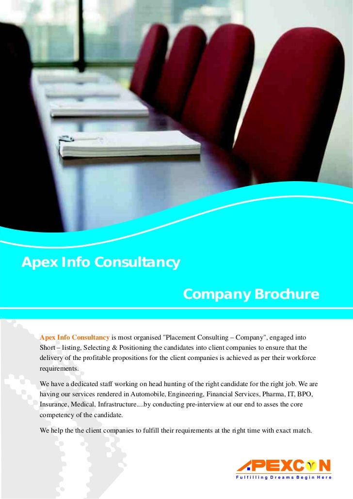 Apex Info Consultancy                                                     Company Brochure  Apex Info Consultancy is most ...