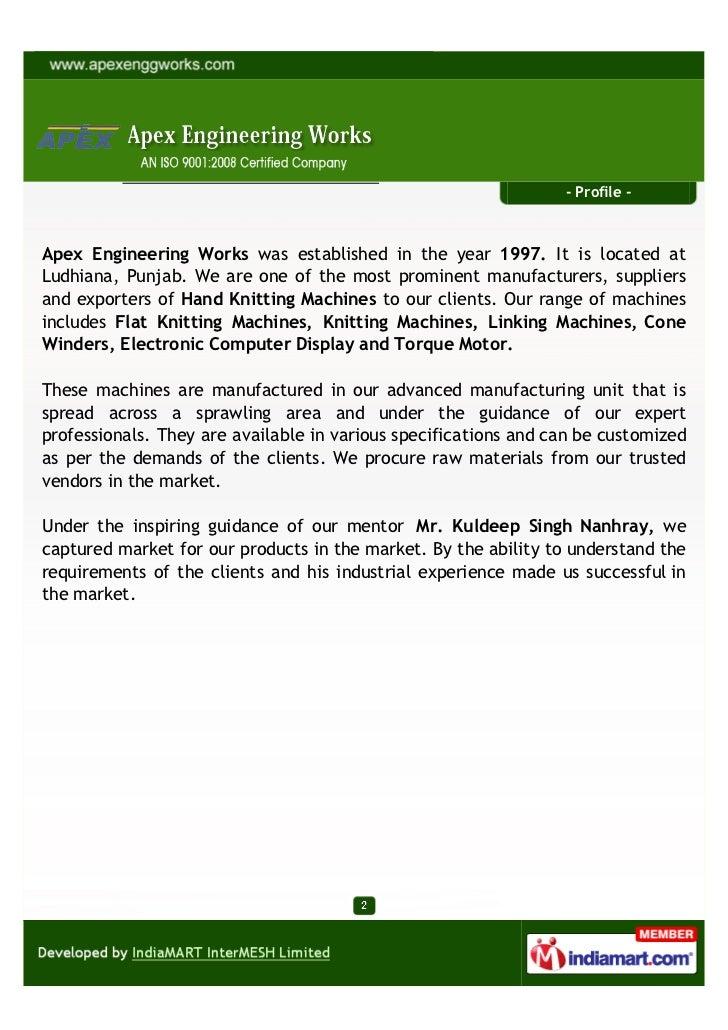 Apex Engineering Works,Ludhiana, Hand Knitting Machine Slide 2