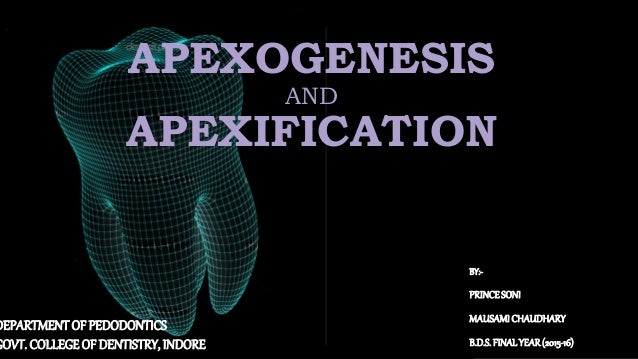 APEXOGENESIS AND APEXIFICATION BY:- PRINCESONI MAUSAMICHAUDHARY B.D.S.FINALYEAR(2015-16) DEPARTMENT OF PEDODONTICS GOVT. C...
