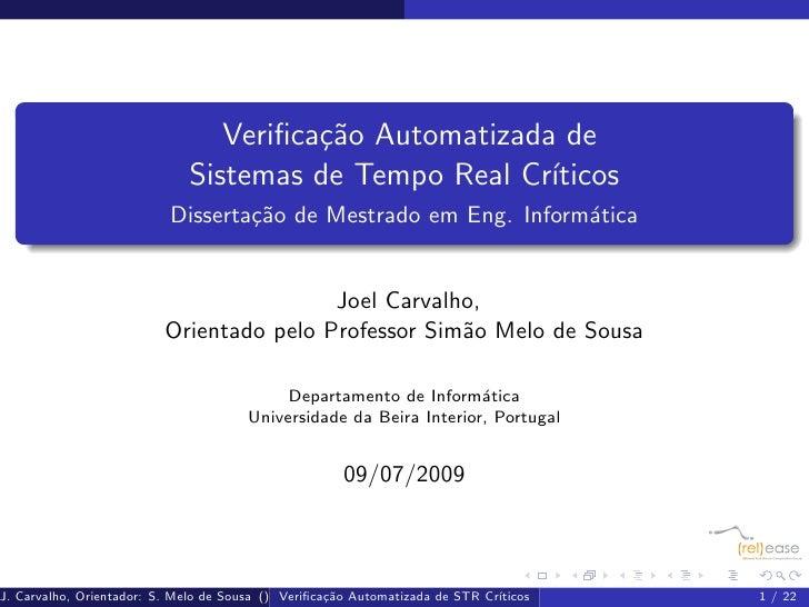 Verifica¸˜o Automatizada de                                         ca                               Sistemas de Tempo Real...
