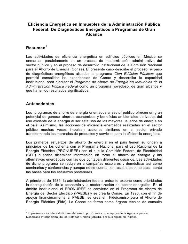 Eficiencia Energética en Inmuebles de la Administración Pública        Federal: De Diagnósticos Energéticos a Programas de...