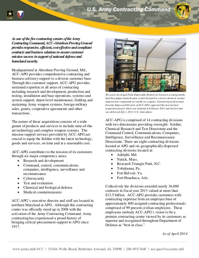 AsoneofthefivecontractingcentersoftheArmy ContractingCommand,ACC–AberdeenProvingGround providesresponsive,efficient,cost-e...