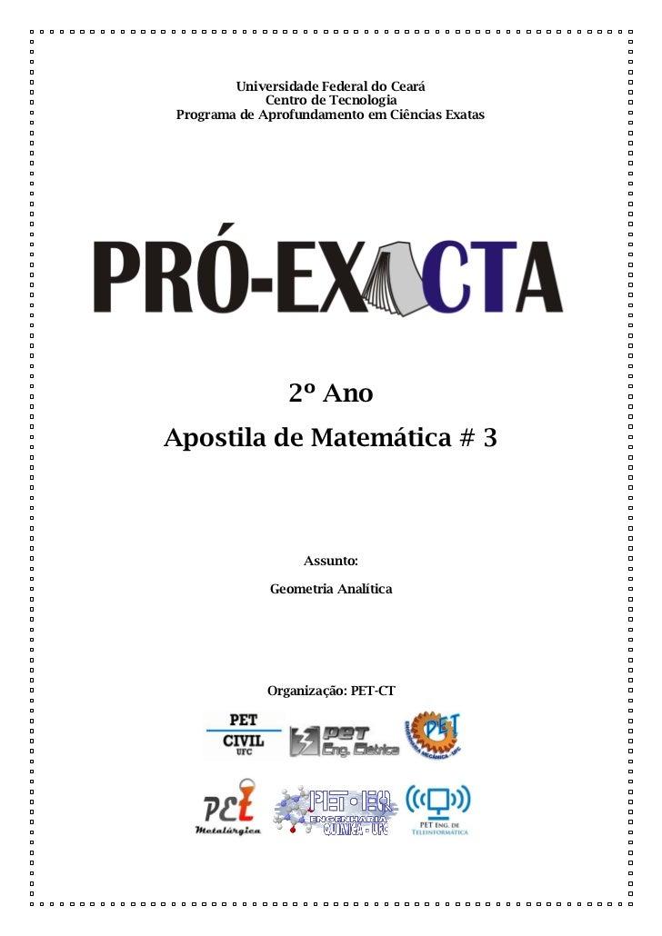 Universidade Federal do Ceará              Centro de Tecnologia Programa de Aprofundamento em Ciências Exatas             ...