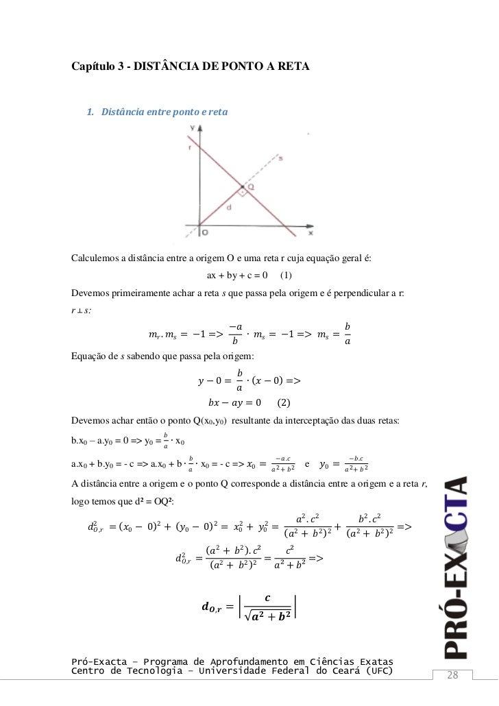 ... 28. Capítulo 3 - DISTÂNCIA DE PONTO A RETA ... ac081b7b02504