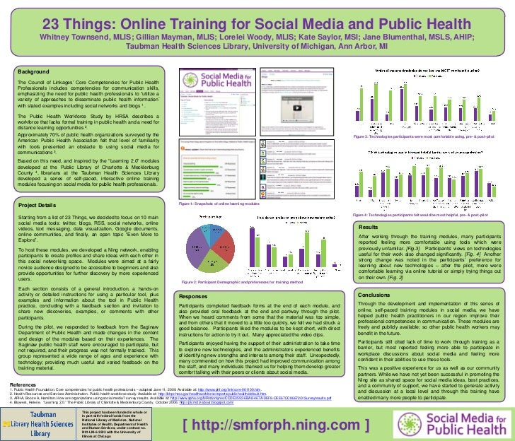 23 Things: Online Training for Social Media and Public Health                 Whitney Townsend, MLIS; Gillian Mayman, MLIS...