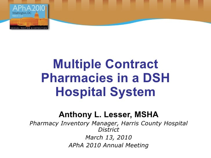 Multiple Contract Pharmacies in a DSH Hospital System Anthony L. Lesser, MSHA Pharmacy Inventory Manager, Harris County Ho...