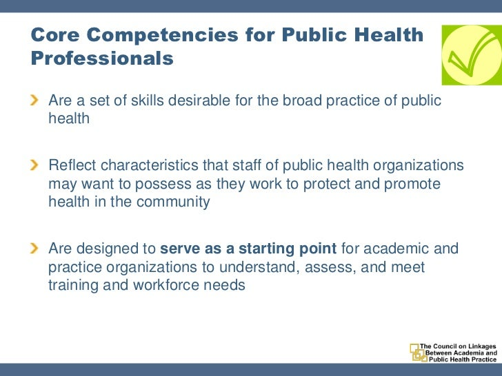 an analysis of the cores of public health The governmental public health infrastructure: the success or failure of any government in the final analysis must be measured by the public health workers who are involved in the provision of essential public health services demonstrate mastery of the core public health competencies.