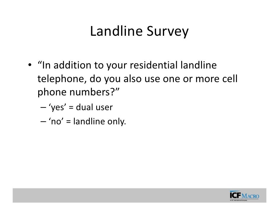 Random digit dialing cell phone surveys and surveillance systems: dat…