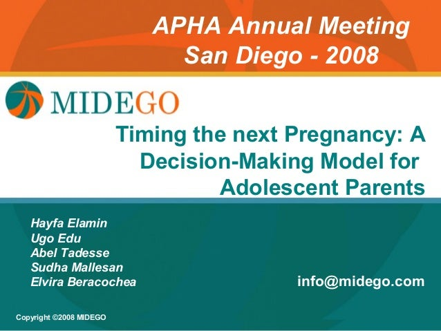 APHA Annual Meeting                              San Diego - 2008                         Timing the next Pregnancy: A    ...
