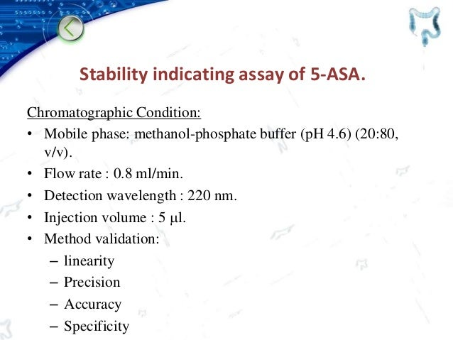 Stability indicating assay of 5-ASA. Chromatographic Condition: • Mobile phase: methanol-phosphate buffer (pH 4.6) (20:80,...