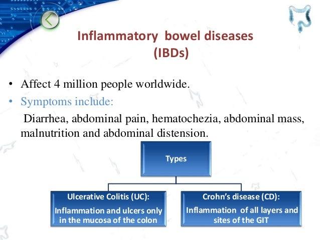 Inflammatory bowel diseases (IBDs) • Affect 4 million people worldwide. • Symptoms include: Diarrhea, abdominal pain, hema...