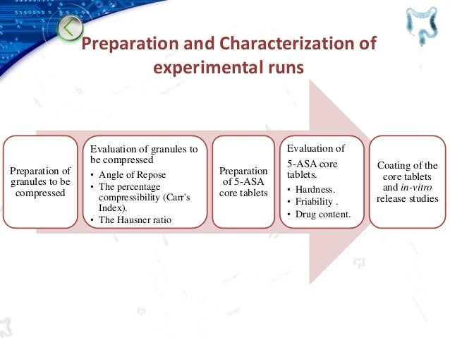 Preparation of granules to be compressed Evaluation of granules to be compressed • Angle of Repose • The percentage compre...