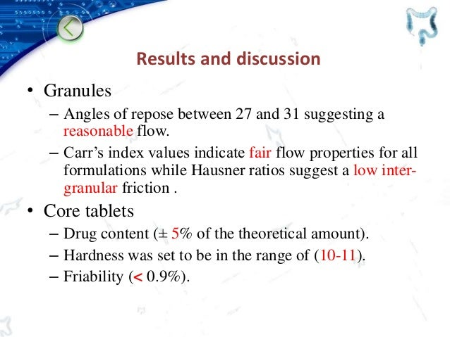 Results and discussion • Granules – Angles of repose between 27 and 31 suggesting a reasonable flow. – Carr's index values...