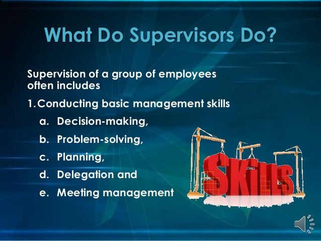 role of the supervisor 2015