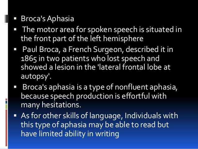 Can patients with brocas aphasia write a check