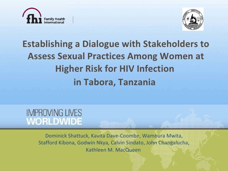 Establishing a Dialogue with Stakeholders to Assess Sexual Practices Among Women at Higher Risk for HIV Infection  in Tabo...