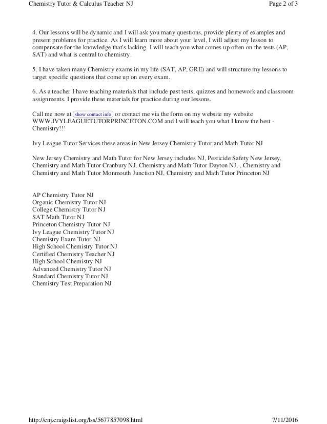 How to score a High AP Chemistry Exam Score Plainsboro NJ