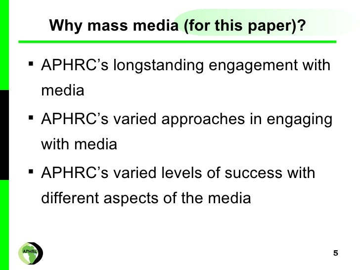 An analysis of how mass media
