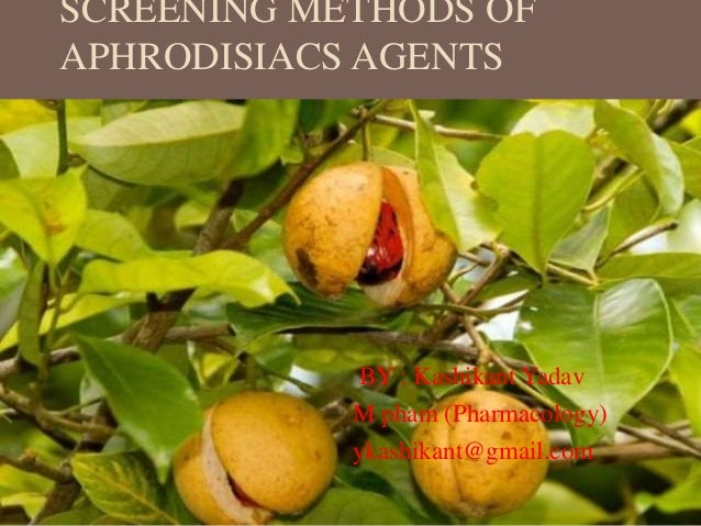 SCREENING METHODS OF APHRODISIACS AGENTS BY : Kashikant Yadav M pham (Pharmacology) ykashikant@gmail.com