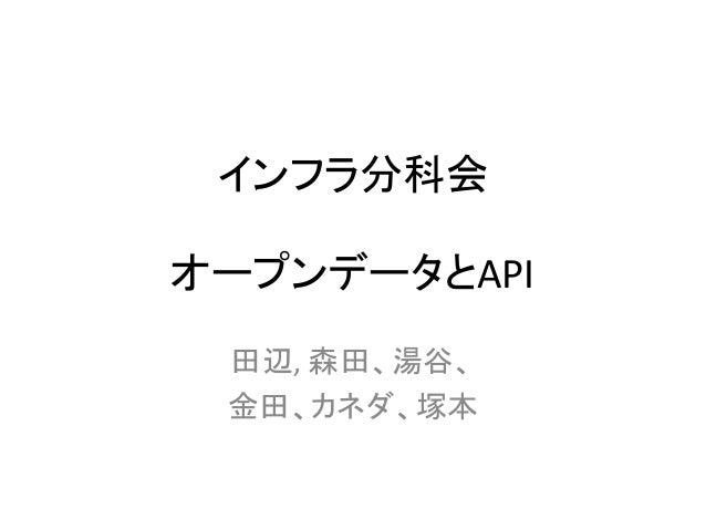 インフラ分科会 オープンデータとAPI 田辺, 森田、湯谷、 金田、カネダ、塚本