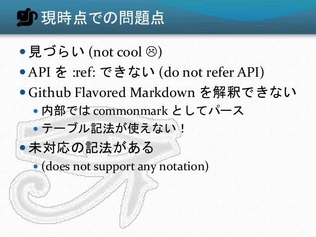 現時点での問題点  見づらい (not cool )  API を :ref: できない (do not refer API)  Github Flavored Markdown を解釈できない  内部では commonmark とし...