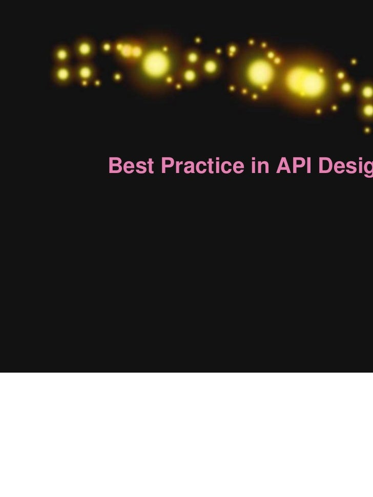 Best Practice in API Design