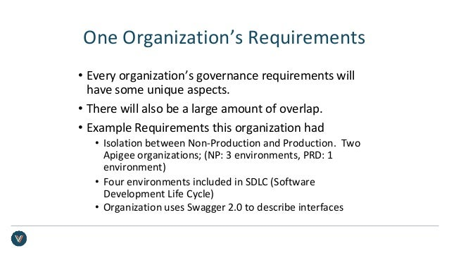 One Organization's Requirements • Every organization's governance requirements will have some unique aspects. • There will...
